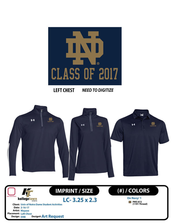 Art Request Univ Of Notre Dame Student Activities Nd Logo Class Of 2017 Lc Emb